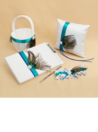 """""""Love Ever Lasting"""" Collection Set in Satin With Feather/Faux Pearl"""