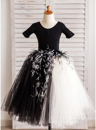 A-Line/Princess Knee-length Flower Girl Dress - Tulle Short Sleeves Scoop Neck With Feather