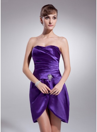 Sheath/Column Sweetheart Short/Mini Charmeuse Cocktail Dress With Ruffle Crystal Brooch