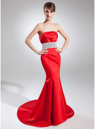 Trumpet/Mermaid Strapless Court Train Satin Mother of the Bride Dress With Ruffle Beading
