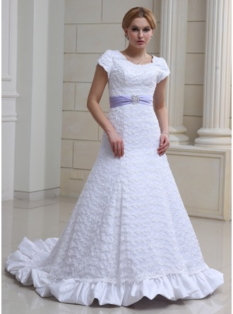 A-Line/Princess Scoop Neck Chapel Train Satin Lace Wedding Dress With Ruffle Sash Beading Bow(s)