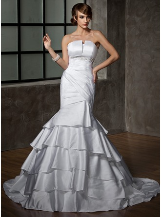Trumpet/Mermaid Scalloped Neck Court Train Satin Wedding Dress With Ruffle Beading