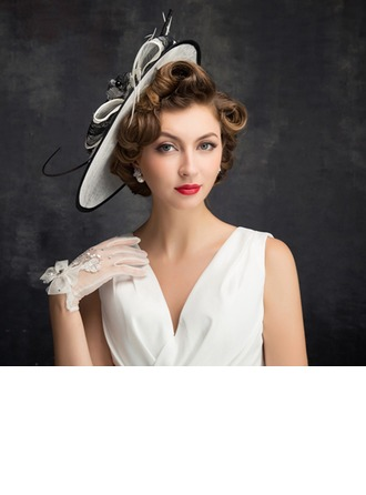 Dames Style Vintage Feather/Fil net/Dentelle/Tulle/Lin avec Feather Chapeaux de type fascinator