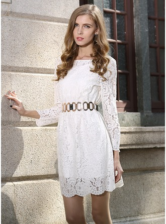 Polyester/Lace With Stitching Above Knee Dress