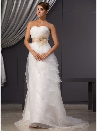 A-Line/Princess Sweetheart Court Train Organza Satin Wedding Dress With Ruffle Sash Beading Flower(s)