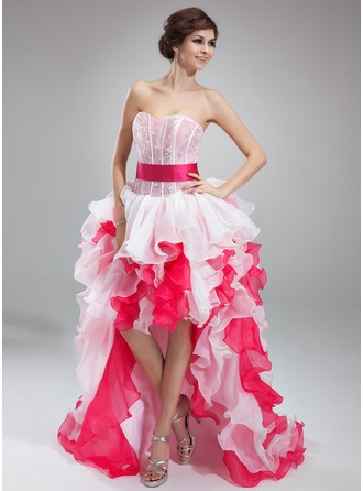 A-Line/Princess Sweetheart Asymmetrical Organza Prom Dress With Lace Cascading Ruffles