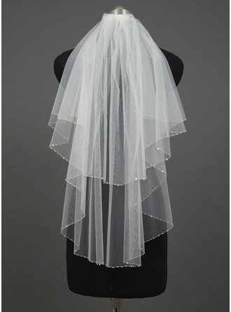 Two-tier Elbow Bridal Veils With Sequin Trim Edge