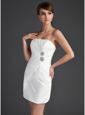 Sheath/Column Strapless Short/Mini Taffeta Cocktail Dress With Ruffle Beading