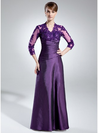 A-Line/Princess V-neck Floor-Length Taffeta Tulle Mother of the Bride Dress With Ruffle Lace Beading Sequins
