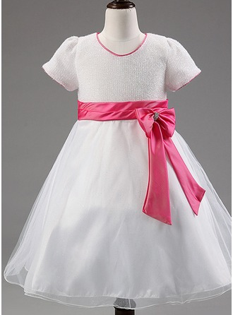 A-Line/Princess Tea-length Flower Girl Dress - Cotton Blends Short Sleeves Scoop Neck With Bow(s)