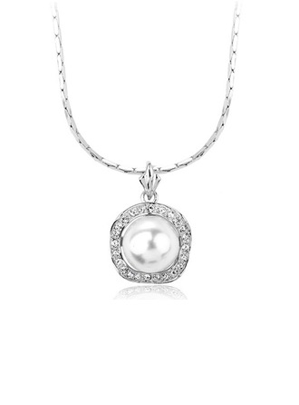 Jolie Alliage/Pearl avec Strass Dames Colliers