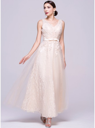 A-Line/Princess V-neck Ankle-Length Tulle Lace Evening Dress With Bow(s)