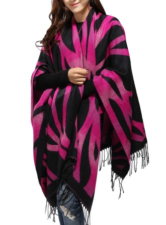 Striped Oversized/Shawls Poncho
