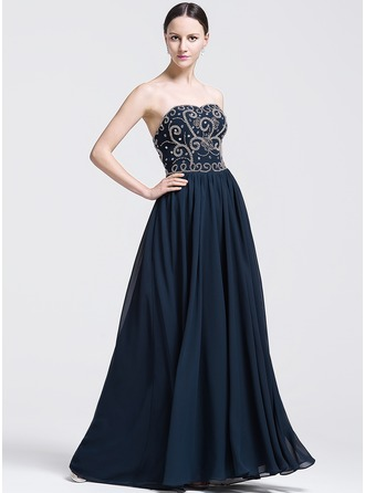 A-Line/Princess Sweetheart Floor-Length Chiffon Evening Dress With Beading Sequins