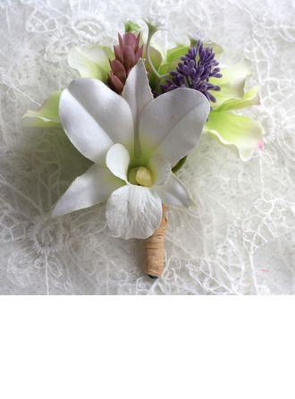 Attractive Free-Form Satin Boutonniere/Men's Accessories