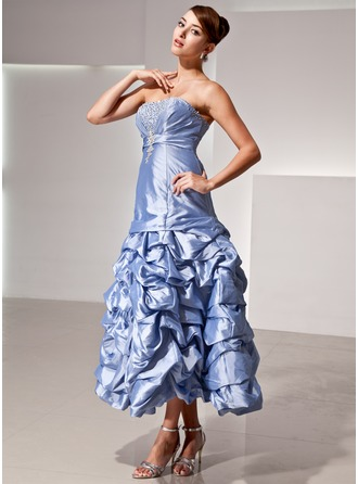 A-Line/Princess Strapless Tea-Length Taffeta Holiday Dress With Ruffle Beading Sequins