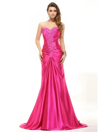 Trumpet/Mermaid Sweetheart Sweep Train Charmeuse Evening Dress With Ruffle Beading Sequins