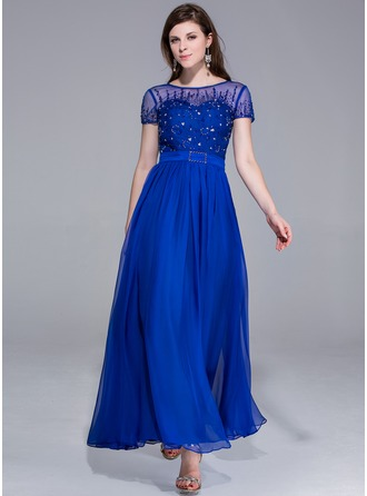 A-Line/Princess Scoop Neck Ankle-Length Chiffon Charmeuse Evening Dress With Beading