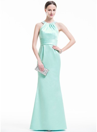 Trumpet/Mermaid Scoop Neck Floor-Length Satin Evening Dress With Ruffle Beading Sequins