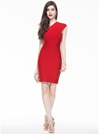 Sheath/Column One-Shoulder Short/Mini Cocktail Dress With Ruffle