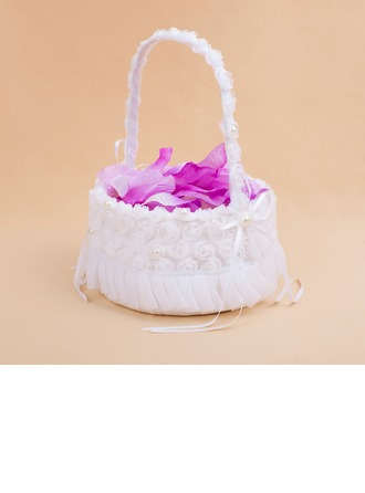 Pretty Flower Basket in Satin With White Organza Rose