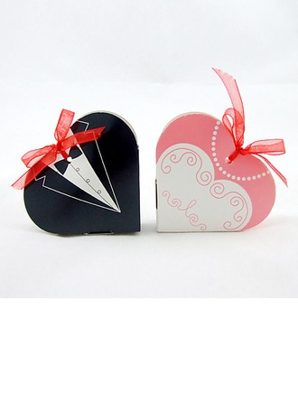 Tuxedo & Gown Heart-shaped Favor Boxes With Ribbons (Set of 12)