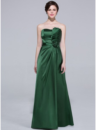 A-Line/Princess Sweetheart Floor-Length Charmeuse Bridesmaid Dress With Ruffle Flower(s)