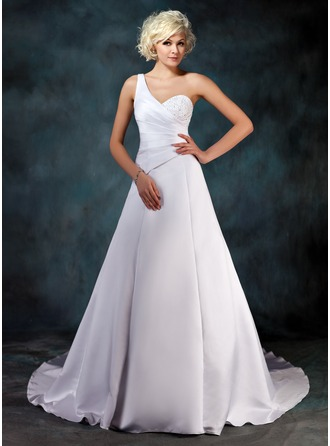 A-Line/Princess One-Shoulder Chapel Train Satin Wedding Dress With Ruffle Beading Sequins