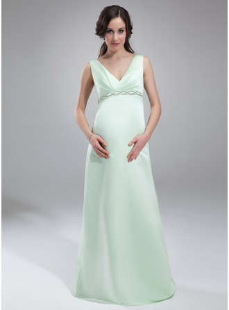 Empire V-neck Floor-Length Satin Satin Maternity Bridesmaid Dress With Ruffle Beading