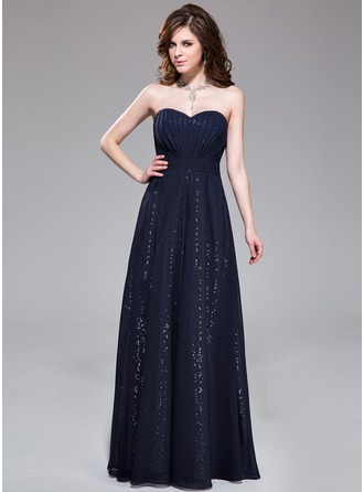 A-Line/Princess Sweetheart Floor-Length Chiffon Sequined Prom Dress With Ruffle