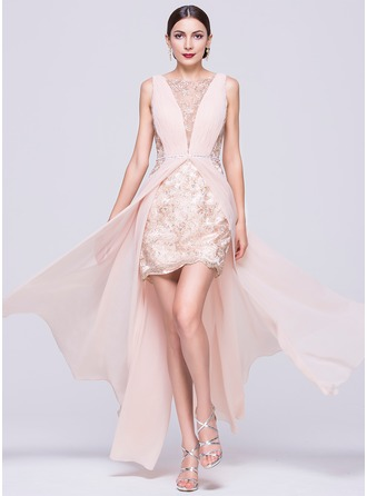 A-Line/Princess Scoop Neck Floor-Length Chiffon Lace Prom Dress With Ruffle Beading Sequins