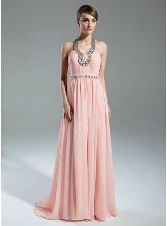 A-Line/Princess Halter Sweep Train Chiffon Mother of the Bride Dress With Ruffle Beading