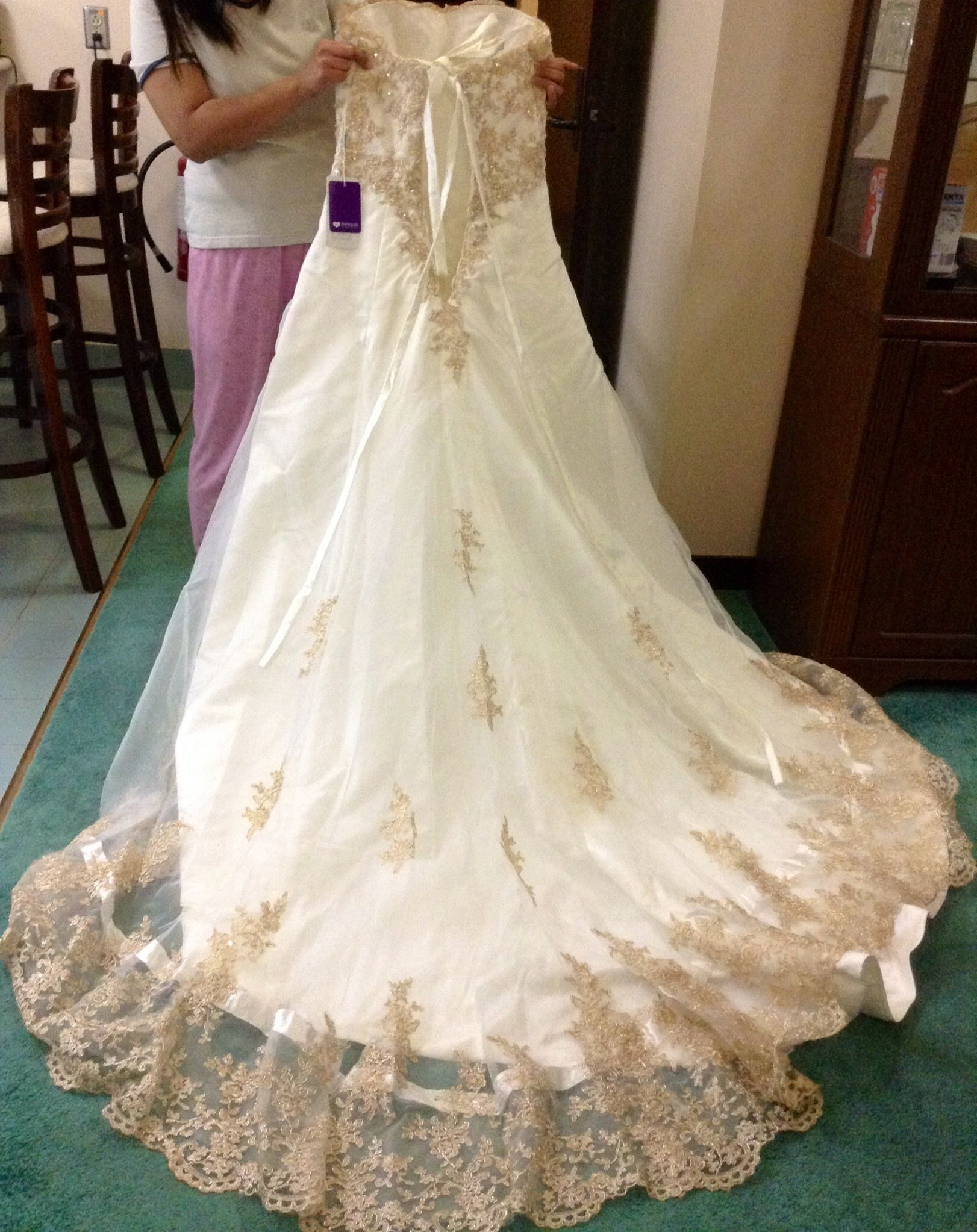 A line princess sweetheart chapel train organza wedding for Jjs house wedding dresses