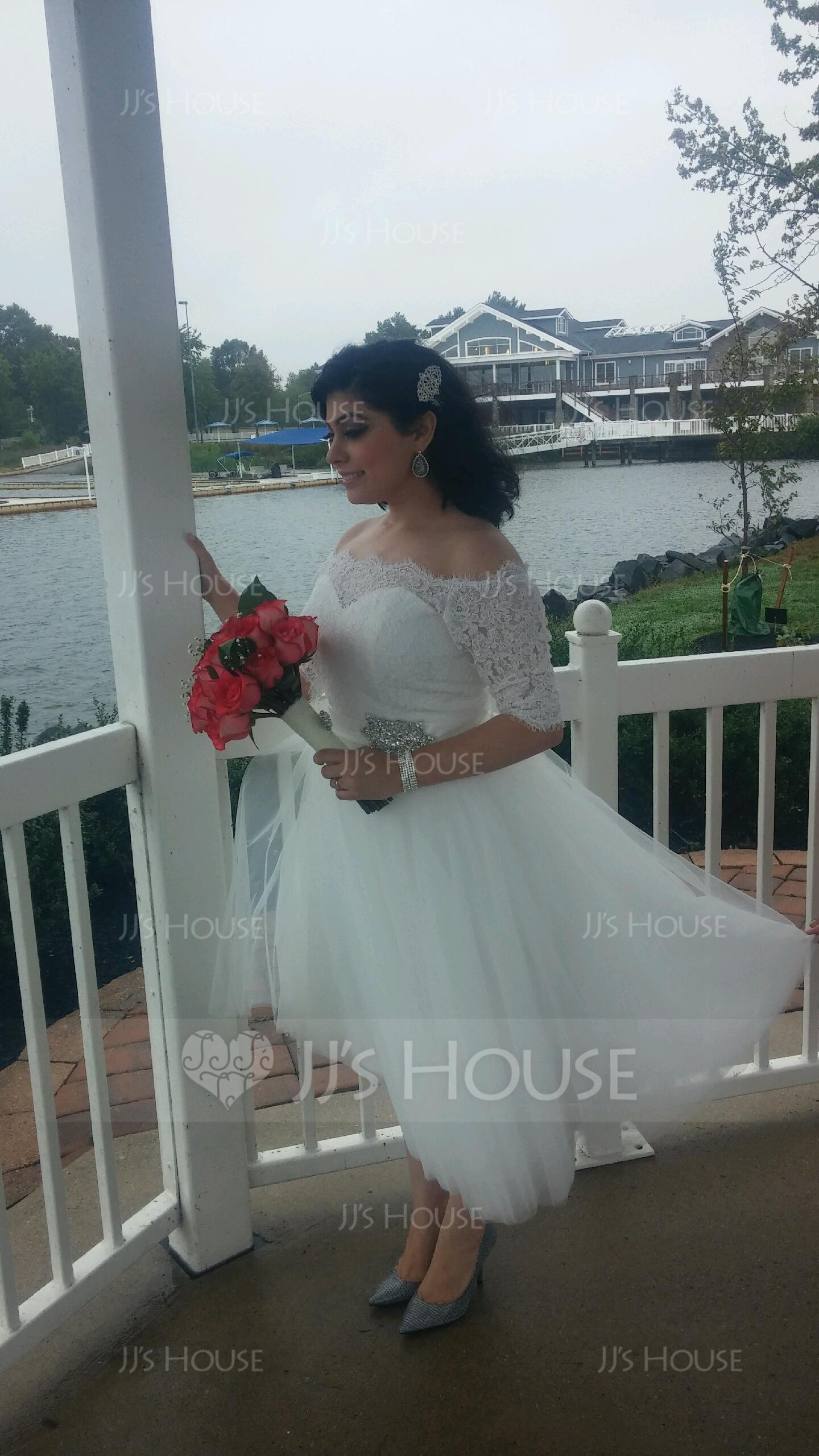 Ball-Gown Off-the-Shoulder Tea-Length Tulle Wedding Dress With ...