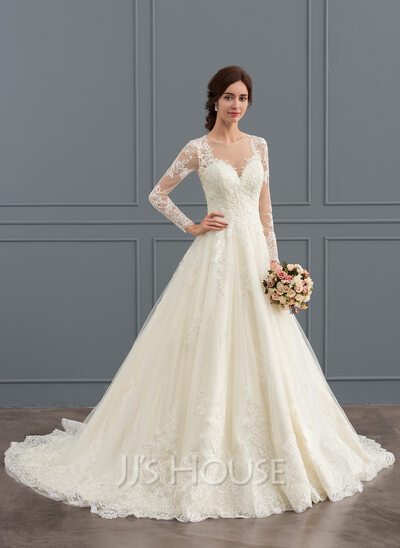 Ball gown scoop neck court train tulle lace wedding dress 002127273 ball gown scoop neck court train tulle lace wedding dress junglespirit Choice Image
