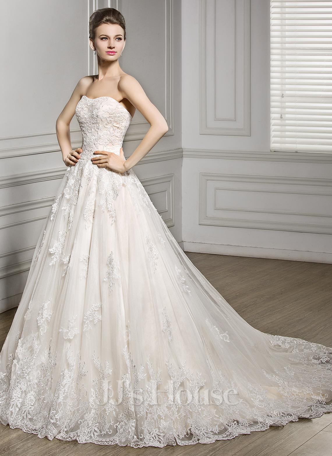 a line princess sweetheart court train tulle lace wedding dress 002056610 jjshouse. Black Bedroom Furniture Sets. Home Design Ideas