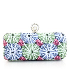 Elegant PU With Floral Print Clutches