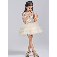 A-Line/Princess Short/Mini Flower Girl Dress - Tulle/Lace Sleeveless Scalloped Neck/Scoop Neck With Bow(s)