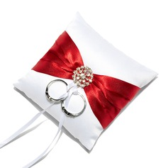 Mini Ring Pillow in Satin With Sash/Rhinestones