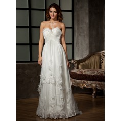 A-Line/Princess Sweetheart Sweep Train Tulle Wedding Dress With Ruffle Lace Beading Flower(s)