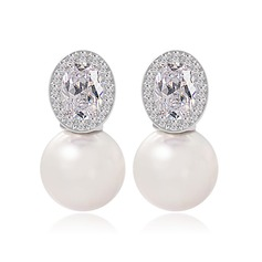Gorgeous Pearl/Zircon/Platinum Plated Earrings