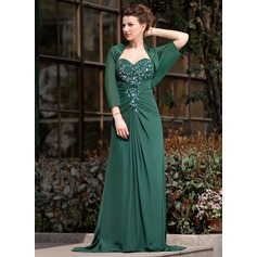 A-Line/Princess Sweetheart Sweep Train Chiffon Mother of the Bride Dress With Ruffle Lace Beading Sequins