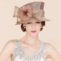 Ladies' Eye-catching Cambric With Feather Bowler/Cloche Hat