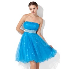 Empire Strapless Knee-Length Tulle Sequined Homecoming Dress With Ruffle Beading