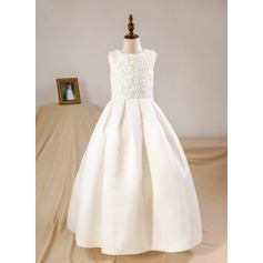 Ball Gown Floor-length Flower Girl Dress - Satin Sleeveless Scoop Neck With Beading (Petticoat included)