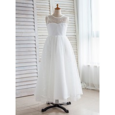 A-Line/Princess Floor-length Flower Girl Dress - Tulle/Lace Sleeveless Scoop Neck With V Back