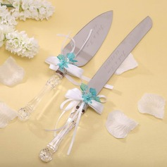 Personalized Flower Design Stainless Steel Serving Sets With Ribbons