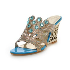 Women's Leatherette Wedge Heel Sandals Wedges Peep Toe With Rhinestone shoes (116094404)