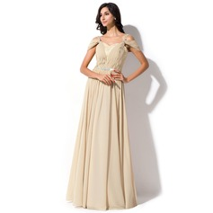 A-Line/Princess Off-the-Shoulder Floor-Length Chiffon Lace Evening Dress With Ruffle Beading Sequins