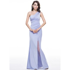 Trumpet/Mermaid One-Shoulder Floor-Length Jersey Evening Dress With Ruffle Beading